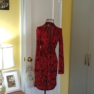 DVF Red Snakeprint Size O Dress